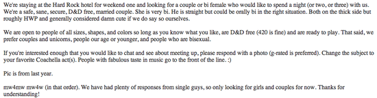 Casual encounter stories craigslist