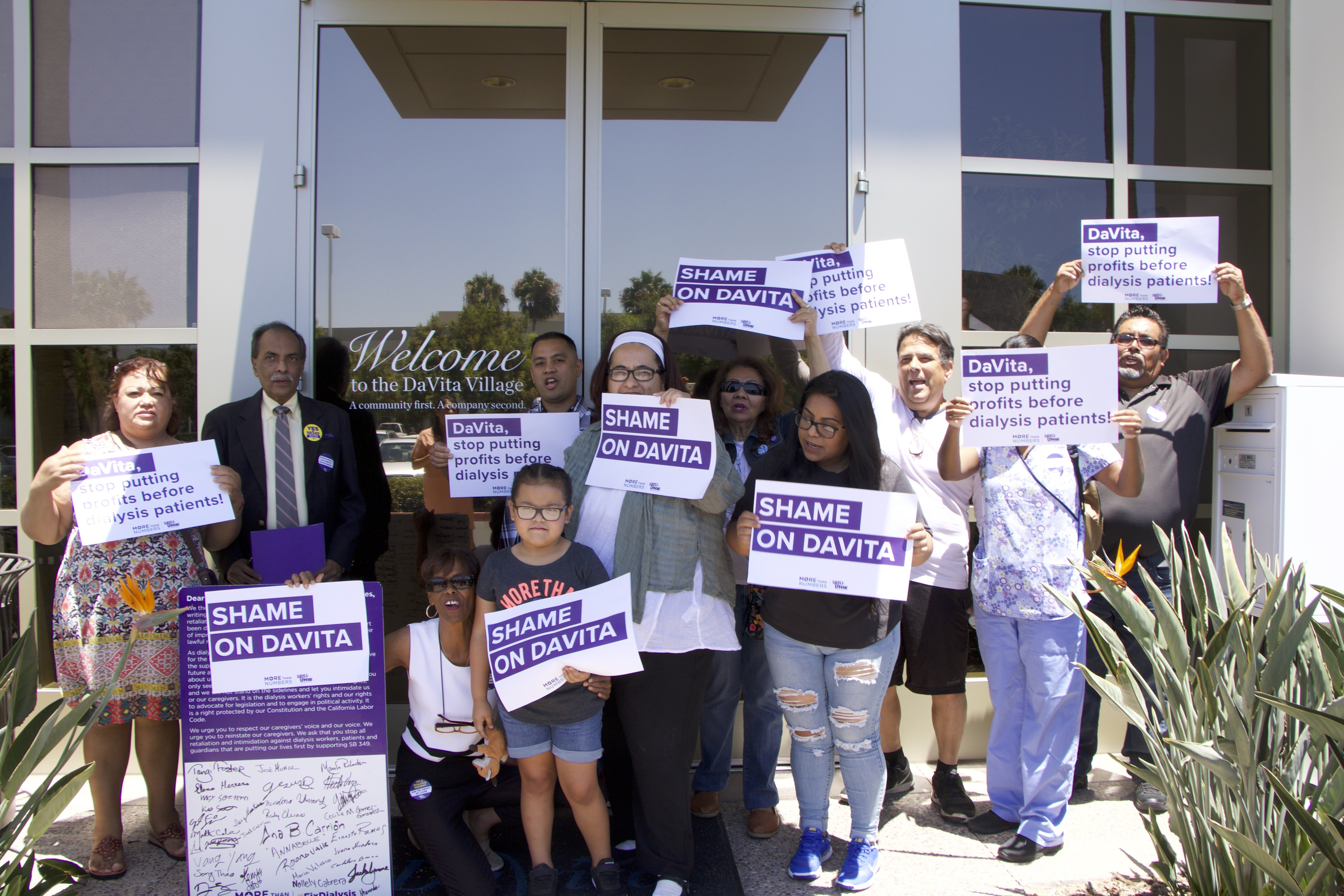 Dialysis Patients Rally at DaVita's Irvine Office to