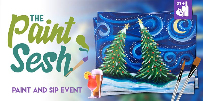 "Paint and Sip in Seal Beach, CA – ""Snowy Night"""