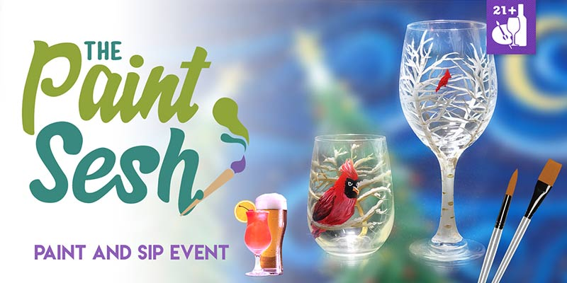 """Winter Birds"" Wine Glasses Paint Night in Seal Beach"