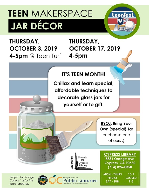 Teen Makerspace: Jar Decor