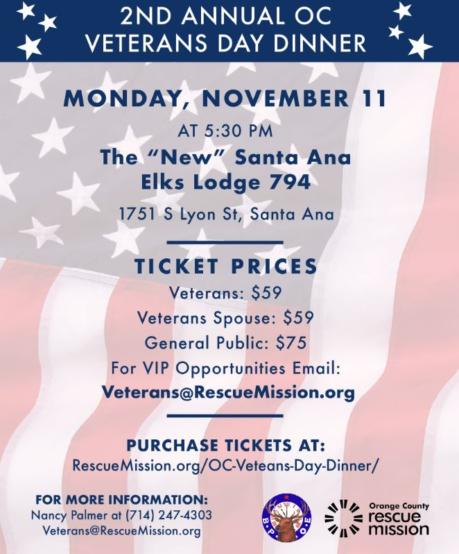 OC Rescue Mission Presents 2nd Annual OC Veterans Day Dinner