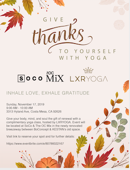 Free Yoga with LXRYOGA at SOCO + The OC Mix!